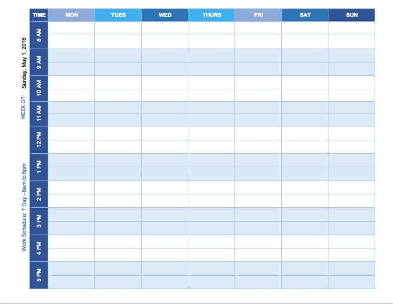 Free Weekly Schedule Templates For Excel - Smartsheet - exam study schedule template
