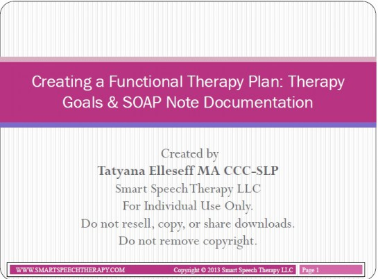 Creating a Functional Therapy Plan Therapy Goals  SOAP Note - soap documentation