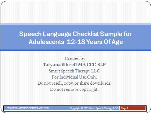 Speech Language Assessment Checklist Sample for Adolescents \u2013 Smart