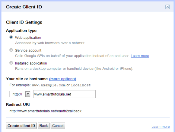 Create Google oAuth 2 client ID 2