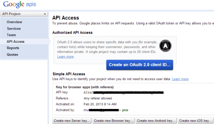 how to create Google oAuth 2 client ID