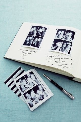 Wedding Guest Book with photo booth photos - Smashing the Glass