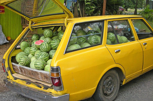 Car loaded with watermelons