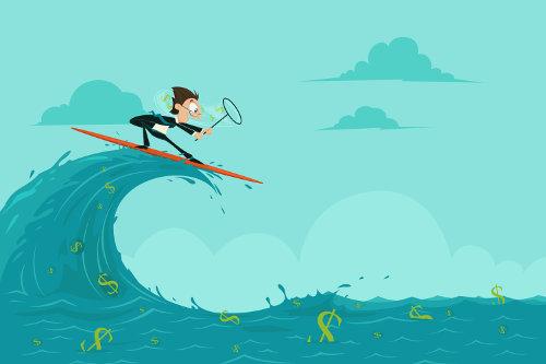 Businessman riding the wave