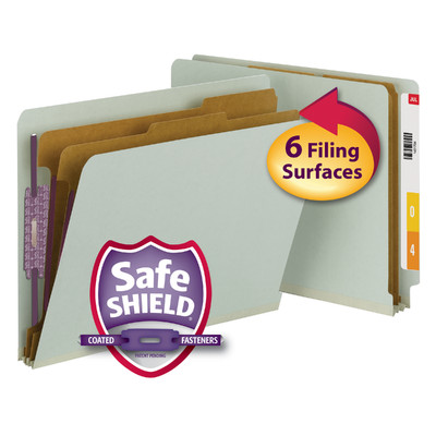 End Tab Classification Folders with SafeSHIELD® Coated Fastener