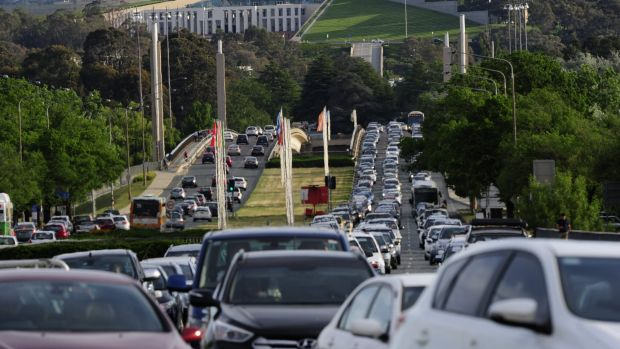 Heavy traffic on Commonwealth Avenue on Tuesday evening.