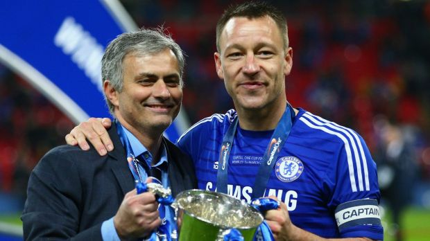 Happier times ... Chelsea manager Jose Mourinho, left, and John Terry of Chelsea pose with the League Cup trophy at Wembley Stadium in March.