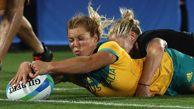 Rio grand: Emma Tonegato scores against New Zealand in the gold medal match.