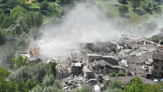 The town of Pescara del Tronto after the earthquake hit.
