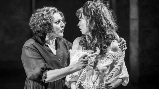 Meera Syal (Nurse) and Lily James (Juliet) in Kenneth Branagh's Romeo and Juliet.
