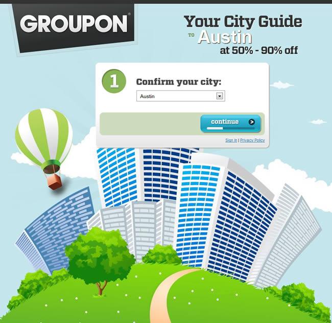 Groupon landing page design example