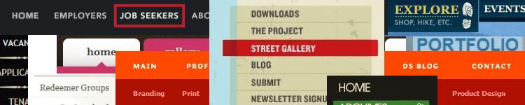 Website navigation design gallery banner