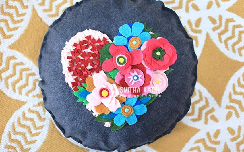 felt flower applique on denim cushion