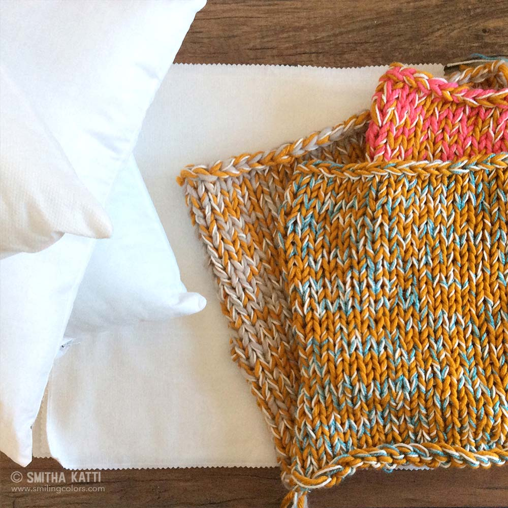 Christmas Stocking Knitted Patterns : How to make a quick chunky knit pillow - Smitha Katti