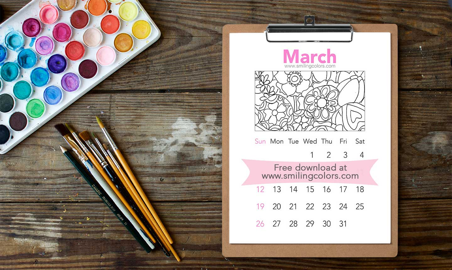 printable watercolor calendar 2017 march smitha katti