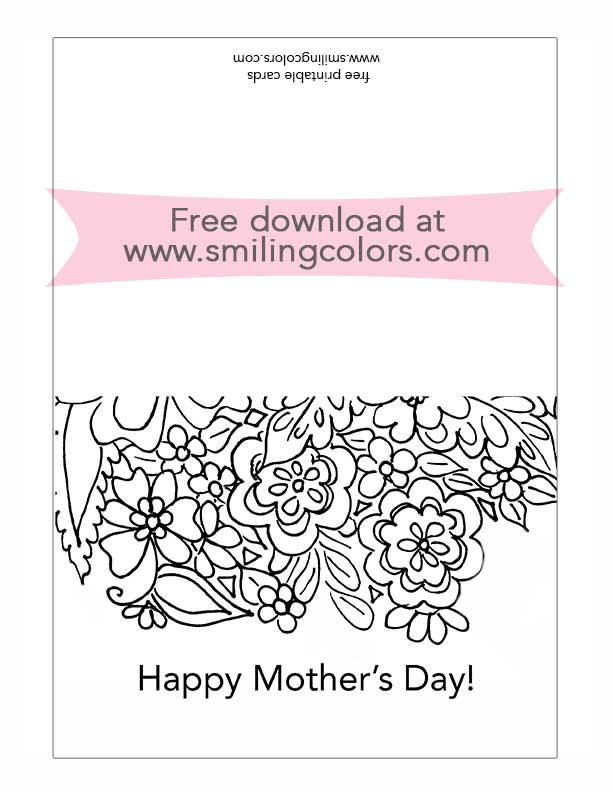 Free printable mothers day card to color and gift  Smiling Colors