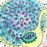 Peacock coloring page & Tombow TwinTone Marker review