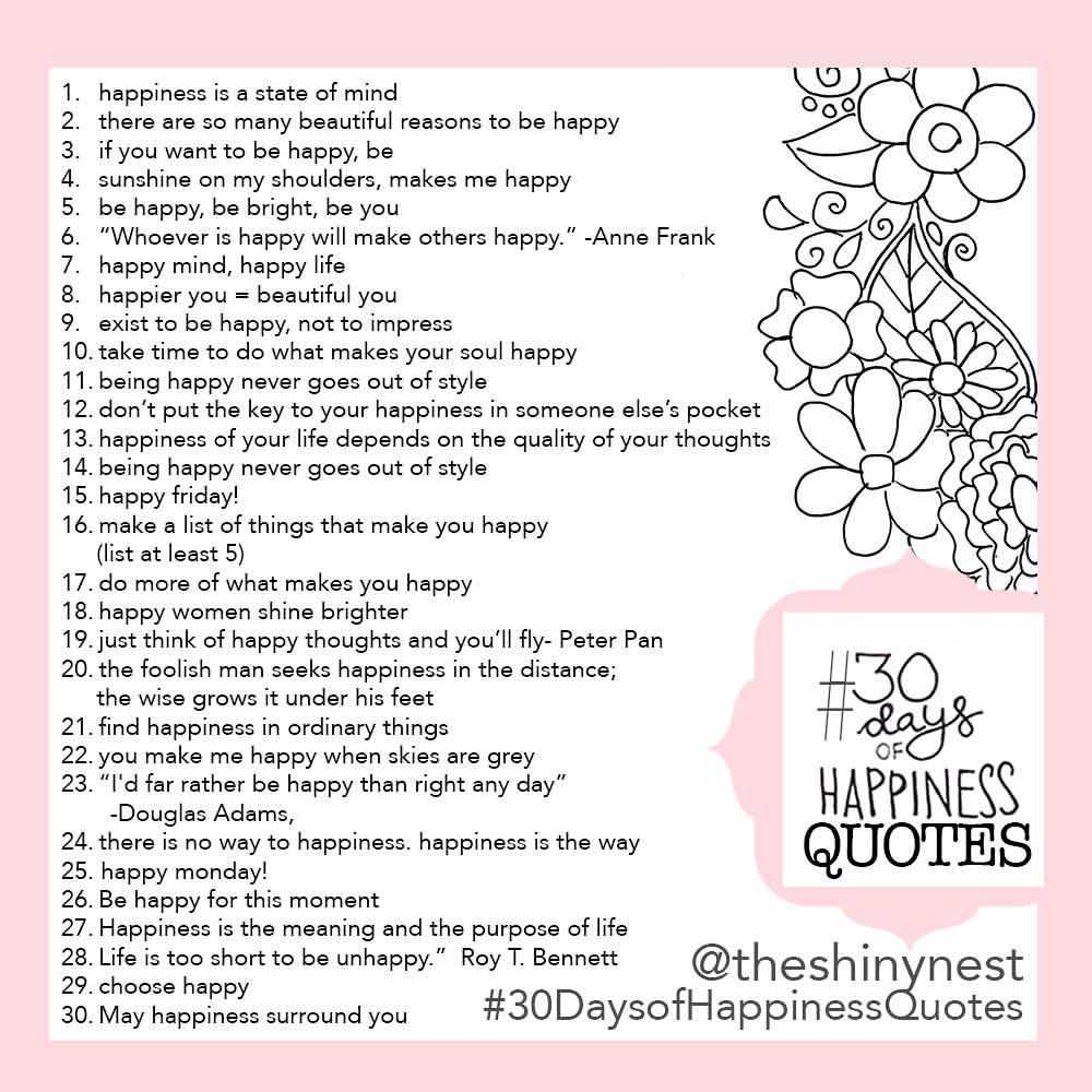 30 days of happiness quotes