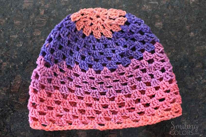 crochet beanie with granny stitch