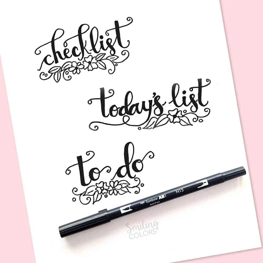 printable to to list handlettering