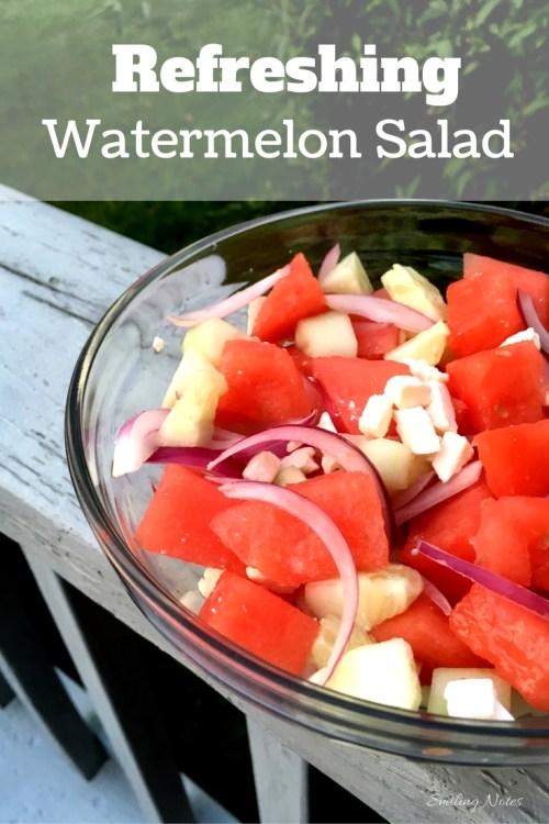 Watermelon Salad with cucumber and feta cheese