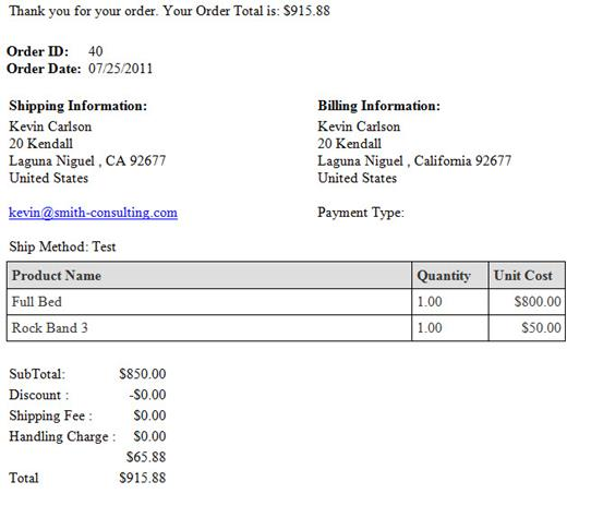 Email Confirmation Invoice Receipt