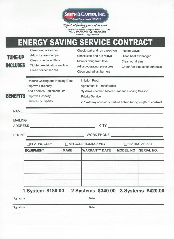 HVAC Maintance Agreements by Smith  Carter - maintenance agreement