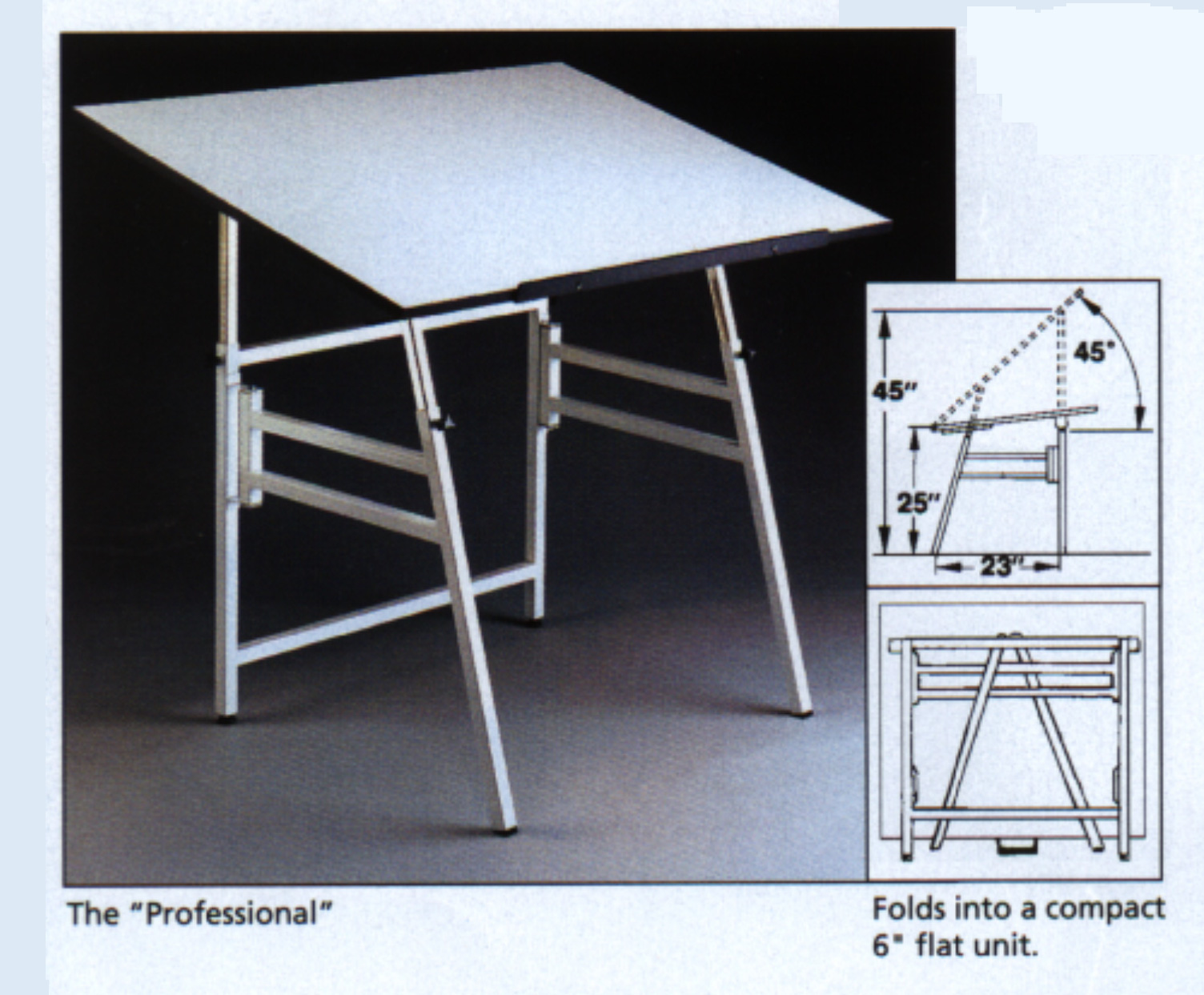 Pro folding drawing table