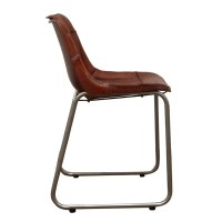 Industrial Leather Cowhide Dining Chair