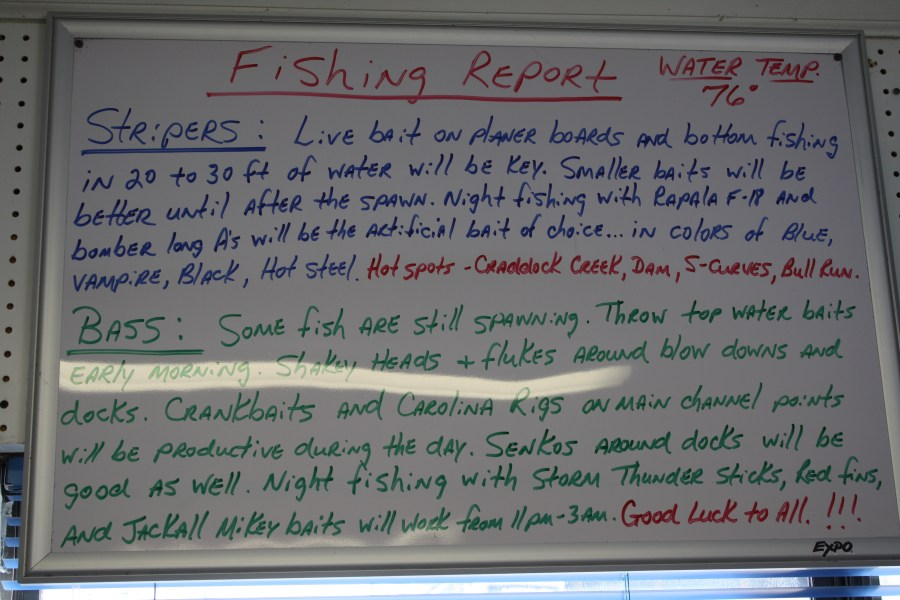 New Fishing report board updated daily with where to catch the fish and what to catch them with.