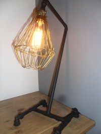 Copper Industrial Table Lamp In Matt Black With Vintage