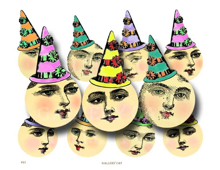 Lady Moon in Party Hat Digital Collage Sheet Instant Download Paper