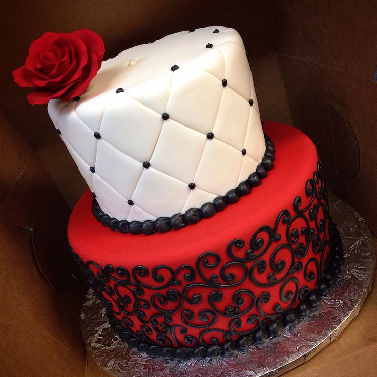 11 Red And Black Birthday Cakes Photo - Black with Red Roses Cake