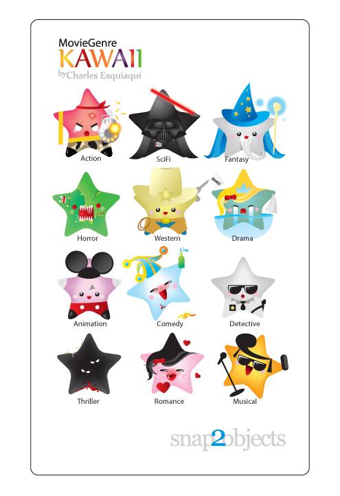 Kawaii Wallpapers Cute Free Vector Kawaii Movie Genres Icons