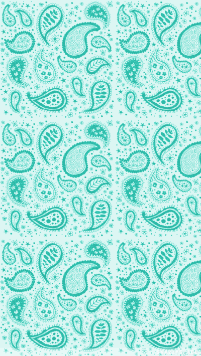 Teal Paisley iPhone Wallpaper