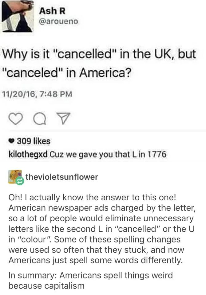 FACT CHECK Why Is It \u0027Cancelled\u0027 in the UK, But \u0027Canceled\u0027 in America?