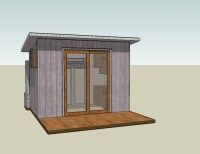 Tiny House Design Centered On A 6 Foot Sliding Glass Door