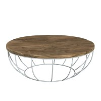 Table basse ronde bois pied blanc 100cm Tinesixe - So Inside