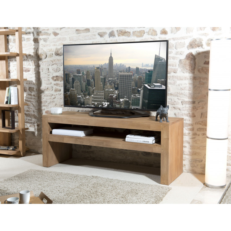 Meuble TV 1 étagère bois Hévéa 150x50cm JULE