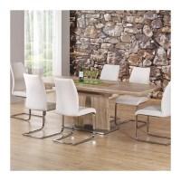 table a manger extensible 220x90cm couleur bois pied mtal ...