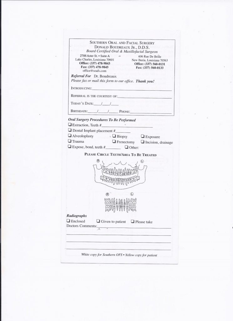 Referring Doctors New Iberia LA Doctor Referral Form Lake Charles - office referral form