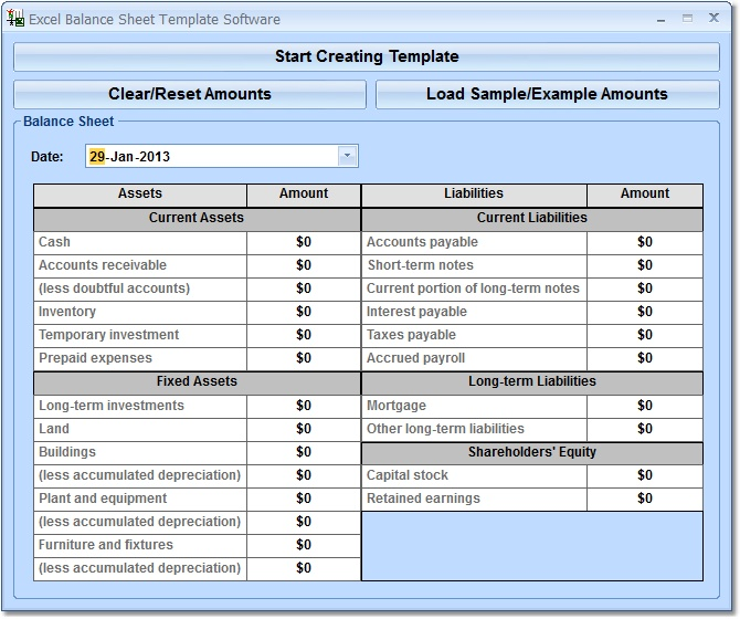 Excel Balance Sheet Template Software 70 Download