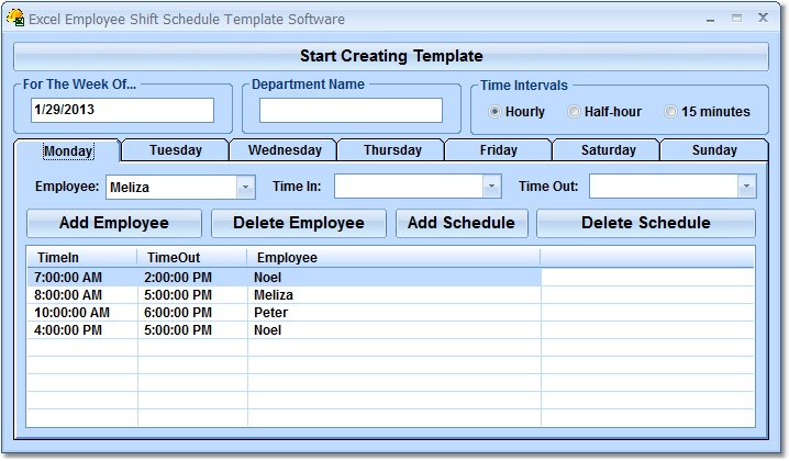 Excel Employee Shift Schedule Template Software - Create templates