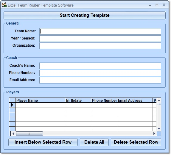 Excel Team Roster Software - Create custom team rosters in MS Excel
