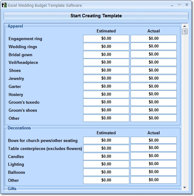 Excel Wedding Budget Template Software - Create a wedding budget of