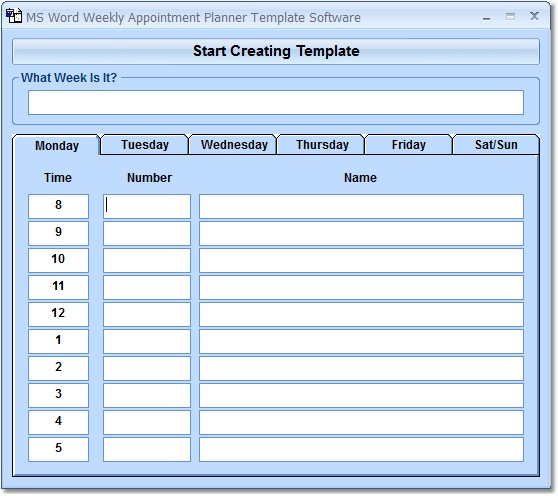 MS Word Weekly Appointment Planner Software 70 Download Fast, Free