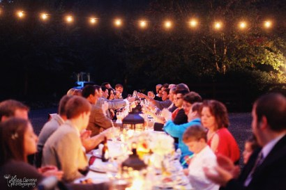 Sharing Stories around the table, Outdoor Dinner Party, Sparkling Lights, Lanterns, Globe Lights