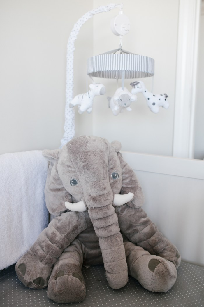 Caleb's Rustic Neutral Nursery Reveal With White, Gray, and Wood Accents Gray Elephant Crib Mobile