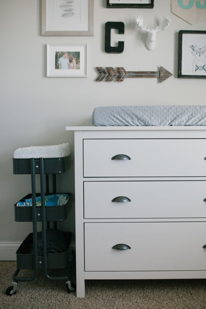 Caleb's Rustic Neutral Nursery Reveal With White, Gray, and Wood Accents, Ikea Changing Table and Ikea Raskog Cart, and D Lawless Hardware