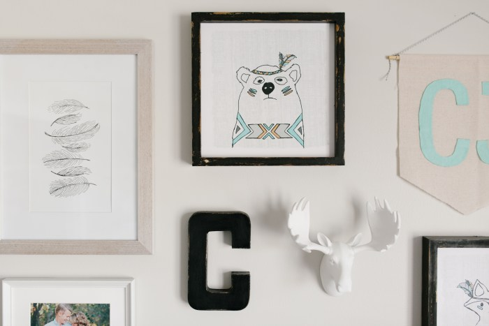 Caleb's Rustic Neutral Nursery Reveal With White, Gray, and Wood Accents and Rustic Woodland Gallery Wall